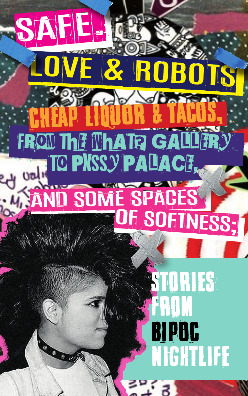 cover of Good Night Out Vancouver's zine, made collage style, with a Black and White picture of a brown skinhead with a mohawk