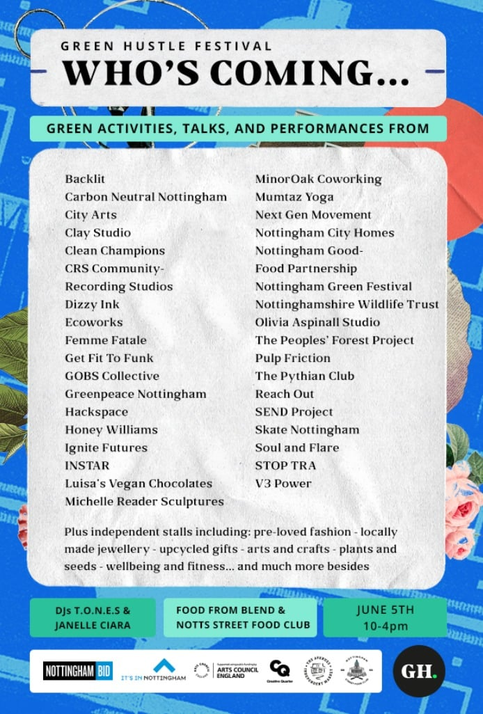 lineup from Green Hustle, including Gobs poetry