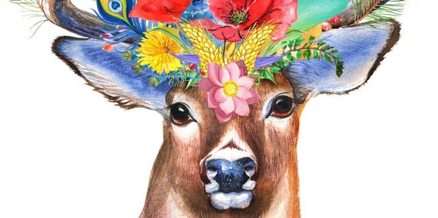 a drawing of a very dignified deer with antlers and a crown of large red flowers, vegetation and peacock feathers